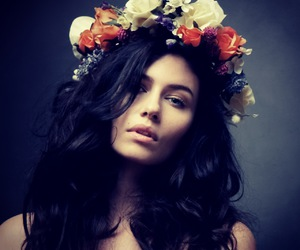 flowers, beauty, and black hair image
