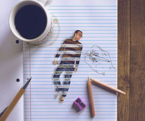 art, pencil, and coffee image