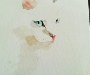 aquarell, cat, and watercolour image