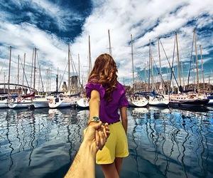 follow me, couple, and Barcelona image