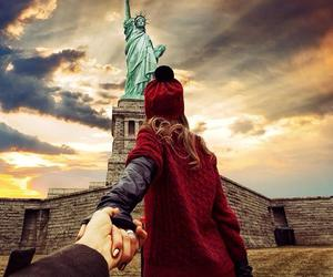 travel, couple, and new york image