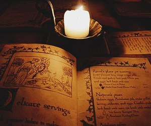 book, candle, and medieval image