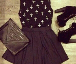 black, outfit, and dress image