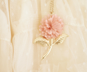 flowers, lace, and necklace image