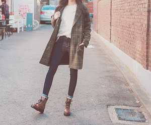 boots, girl, and jacket image
