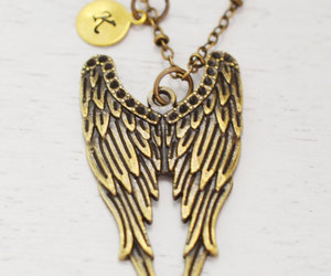 feather necklace, guardian angel, and initial necklace image