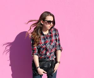 blogger, brunette, and flannel image