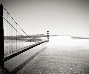 bridge, san francisco, and black and white image