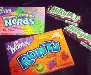 candy, milkyway, and nerds image