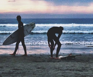 boy, beach, and sea image