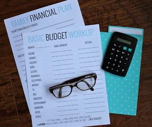 budget, calculator, and money image