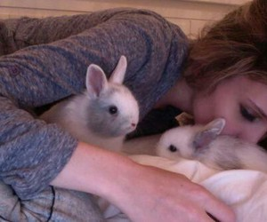 girl, pale, and bunny image