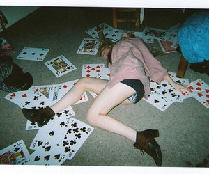 girl, cards, and drunk image
