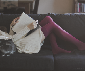 book, girl, and rabbit image