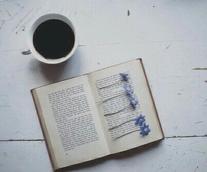 book, flowers, and coffee image