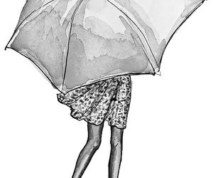 girl, umbrella, and art image