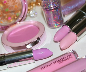 makeup, lipstick, and pink image