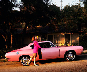 pink, 60s, and car image