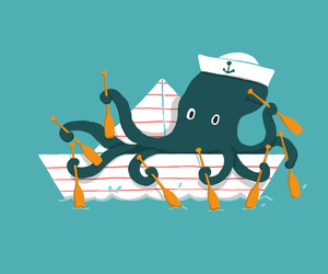 art, funny, and octopus image