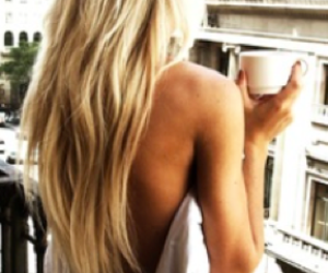 coffee, girl, and long hair image