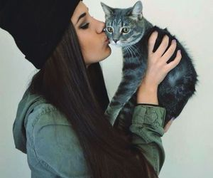 cat, girl, and kiss image