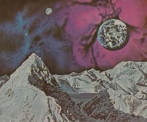 moon, mountains, and space image
