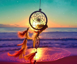 Dream, beach, and dreamcatcher image