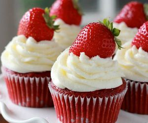 strawberry, cupcake, and food image
