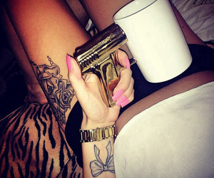 tattoo, nails, and gun image