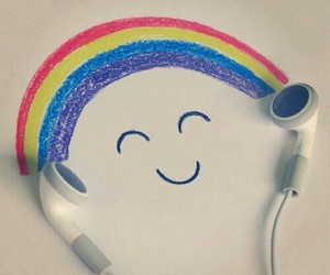 music, rainbow, and smile image