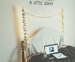 room, bed, and fairy lights image
