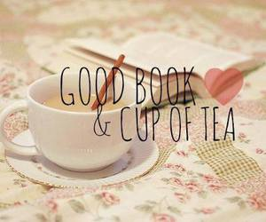 book, tea, and love image
