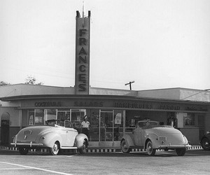 black and white, california, and diner image