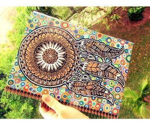 caderno, desenho, and apanhador de sonhos image