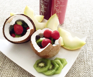 coconut, strawberries, and yum image