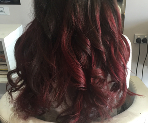 brown hair, curly hair, and deep red image
