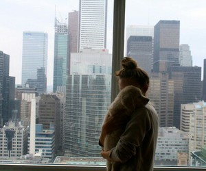 girl, city, and dog image
