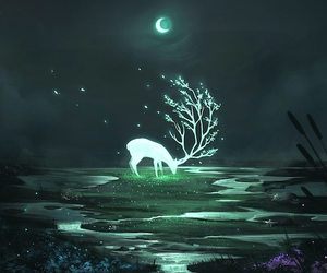 moon, night, and deer image