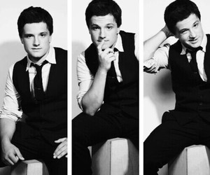josh hutcherson, josh, and black and white image