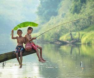 child, nature, and fishing image