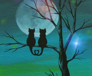 cat, moon, and love image