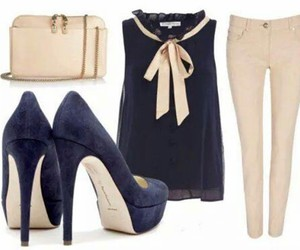 outfit, blue, and heels image