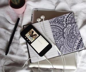 iphone, music, and bed image