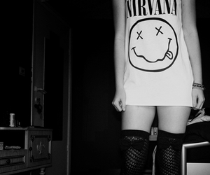 nirvana, girl, and black and white image