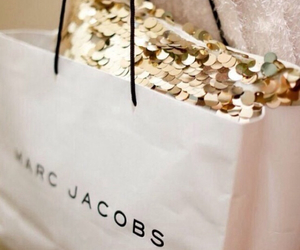 marc jacobs, gold, and shopping image