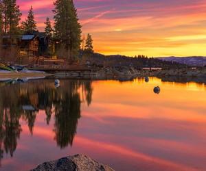 beautiful, lake, and sunset image
