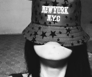 black and white, hat, and new york image