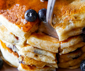 blueberry, food, and pancakes image