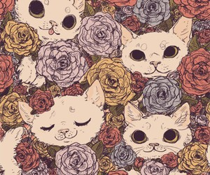 cat, flowers, and rose image