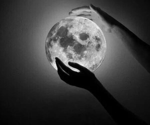moon, hands, and black image